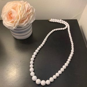 Jewelry - • Long White Beaded Necklace •